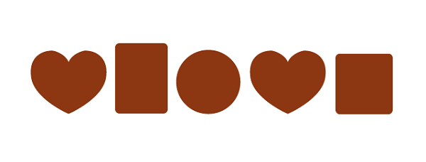 チョコレートのイラストの形を描く