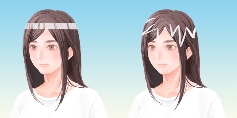 髪の毛のハイライトサンプル