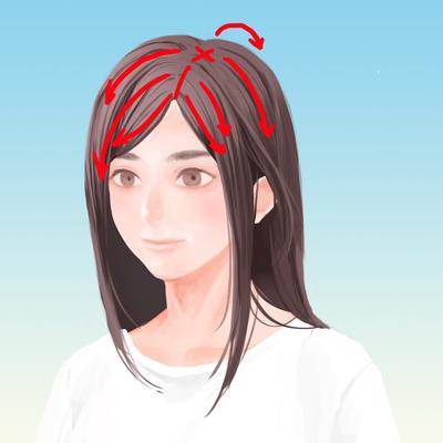 髪の束の影を描