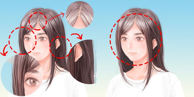 髪の毛をさらに描きこむ
