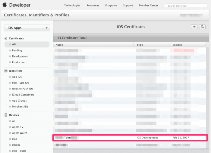 iOS Certificates Apple Developer