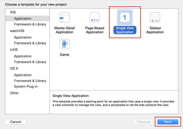 Xcodeのテンプレートを選択
