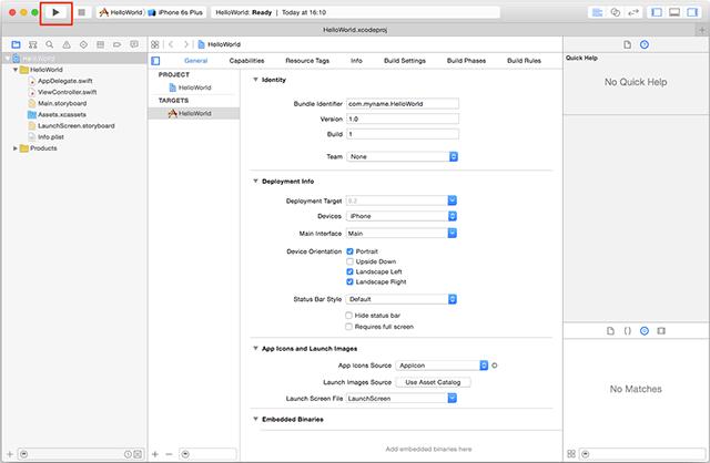 Xcodeのメイン画面
