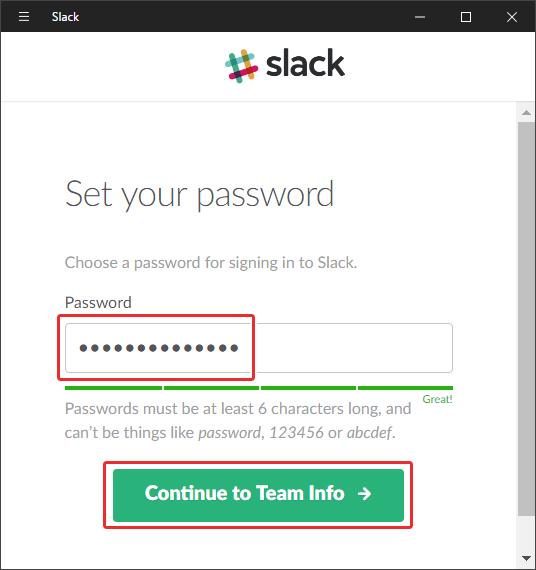 slackのパスワードを設定