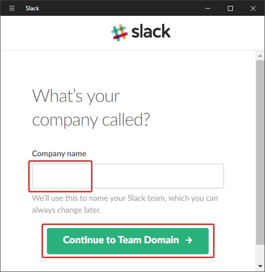 チャットツールSlackに会社名を入力