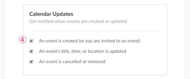 カレンダーの更新通知