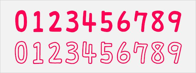 可愛い数字フォント:りいもなか