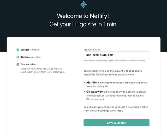 Netlifyでサイトを生成しデプロイ