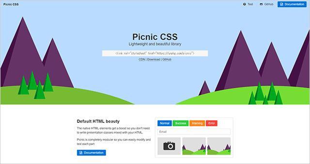SCSSで書かれたCSSフレームワークPicnic CSS