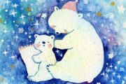 水彩で夜空とシロクマを描いてみよう!