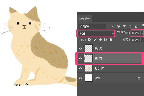 Photoshopで猫の毛を描く