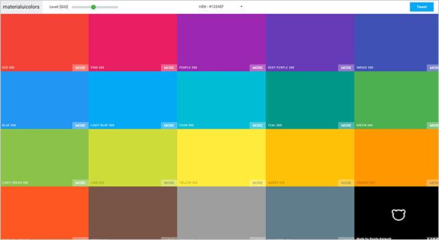 マテリアルなカラーパレットMaterial UI Colors