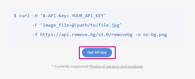 Remove.bgのGet API Keyをクリック