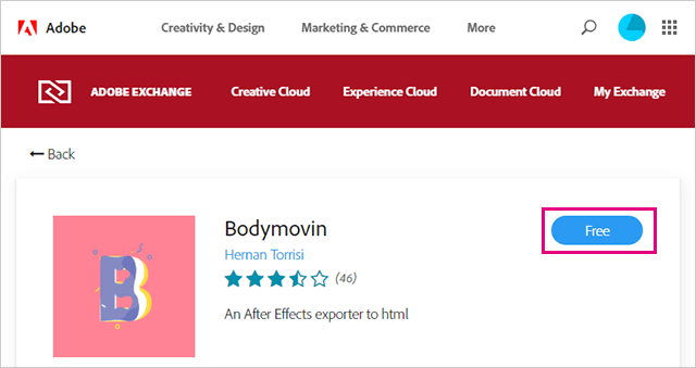 Lottie用のBodymovinの拡張機能をインストール
