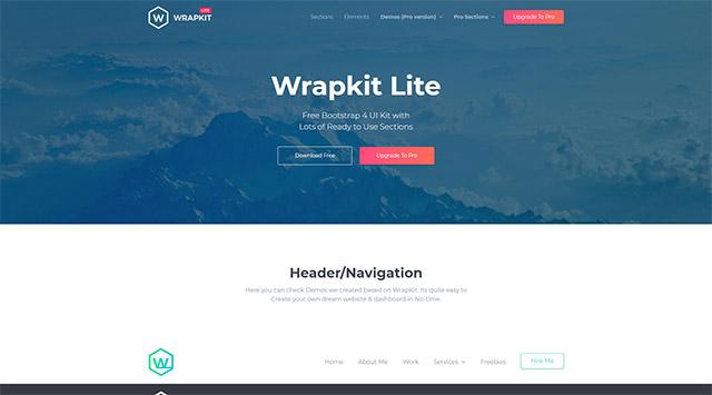 Bootstrap 4で作成されたテンプレートWrapkit Lite