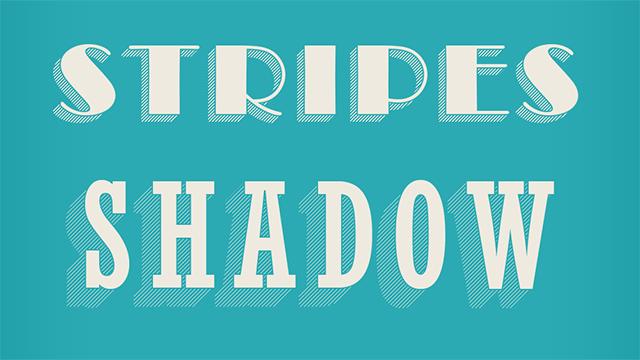 Photoshopエフェクト:影がストライプな文字