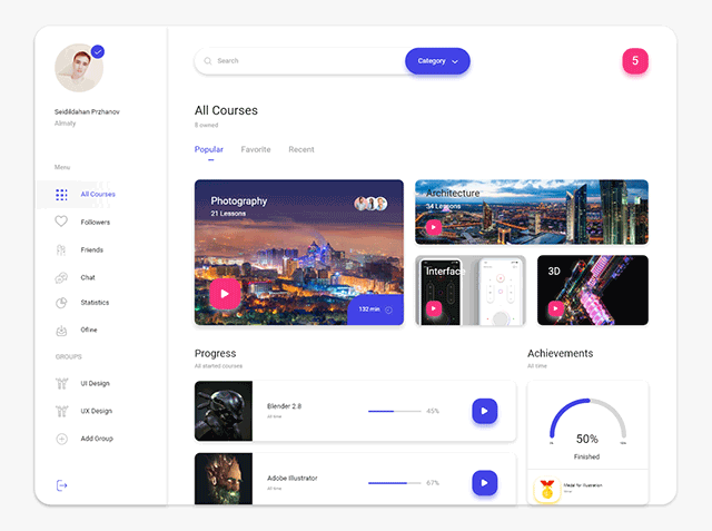 Courses Dashboard for Adobe XD