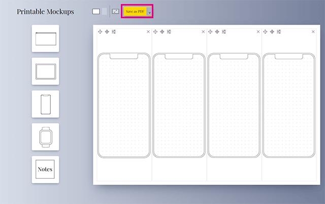 Printable Mockupsのモックアプ画面をPDFにして印刷