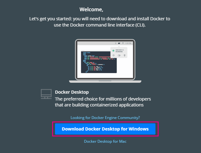Download Docker Desktop for  windowsをクリック