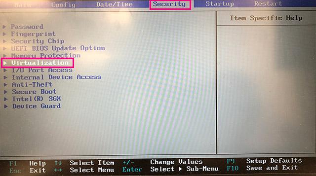 BIOS画面のSecurity