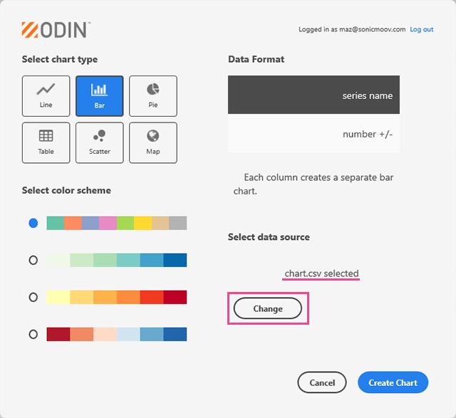 Adobe XDのOdin ChartにCSVデータをインポート