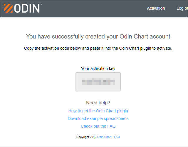 ODIN ChartのActivation Key